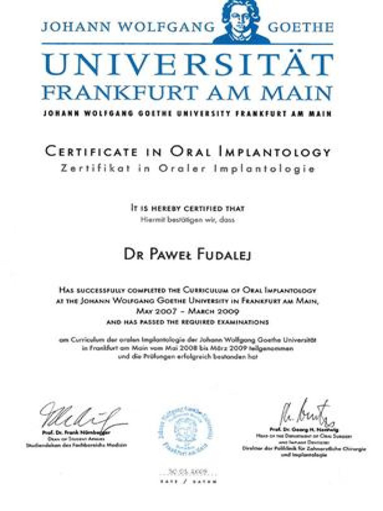 Certificate in Oral Implantology